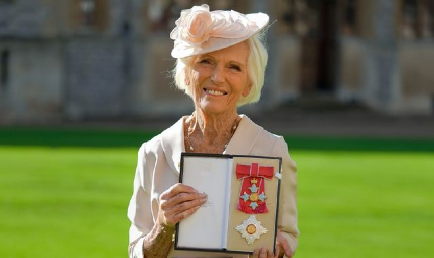 Mary Berry made a dame for services to culinary arts during ceremony with Prince Charles at Windsor Castle